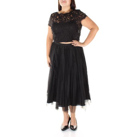 ADRIANNA PAPELL Womens Black Lace Short Sleeve Jewel Neck Tea Length Fit + Flare Prom Dress  Size: 16 Lace Tea Dress