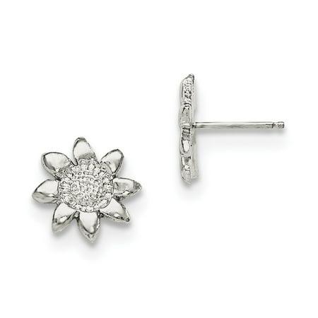 Sterling Silver Boy Girl (Sterling Silver Solid Polished Post Earrings Flower Mini for boys or girls Earrings - 1.4 Grams )