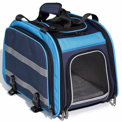 Pet Expandable Rear Pet Carrier for Bikes, Light Blue/Navy
