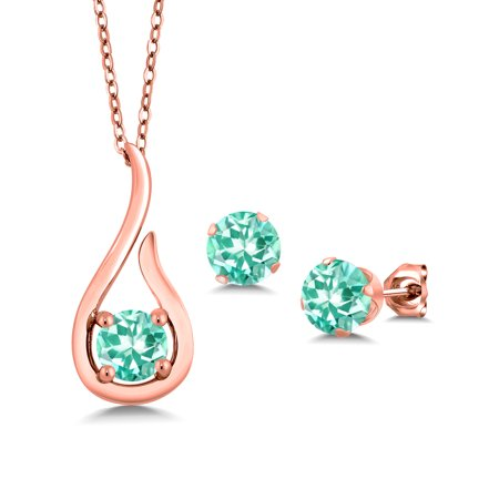 1.49 Ct Blue Apatite 18K Rose Gold Plated Silver Pendant Earrings Set With Chain