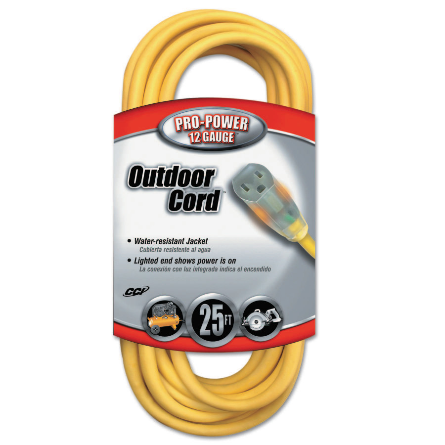 Coleman Cable 02587 12/3 Vinyl Outdoor Extension Cord with Lighted End, 25-Foot