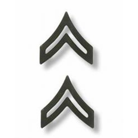 US Army Corporal Chevron Black Metal Collar Rank (Army Chevron)