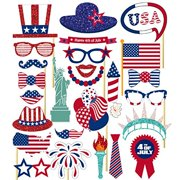 Patriotic 4th of July Photo Booth Props DIY for Independence Day Party Decorations 26-pack by Tinksky