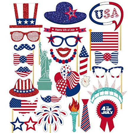Patriotic 4th of July Photo Booth Props DIY for Independence Day Party Decorations 26-pack by Tinksky](Fourth Of July Party Decorations)