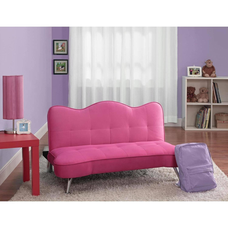 Dhp Rose Junior Microfiber Sofa Futon Lounger Pink Walmart Com