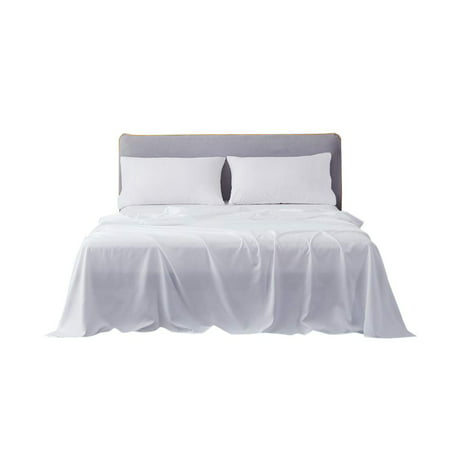 4pc Super Single Size Attached Waterbed Sheets with 15 Inch Deep Pocket Solid White - 1500 Series Brushed Microfiber Hotel Quality Bed Sheets for Waterbed by The Great American Store