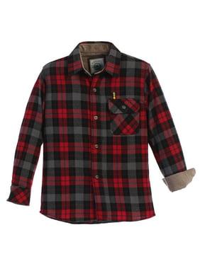 Gioberti Big Boy's Single Pocket Flannel Shirt with Corduroy Contrast