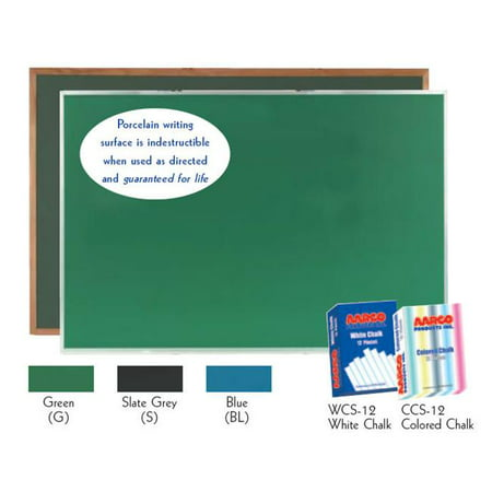 - Aarco Products DS4896G Porcelain on Steel ChalkBoard Satin Anodized Aluminum Frame - Green