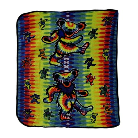 Grateful Dead Tie Dye Dancing Bears Coral Fleece Throw Blanket 50 x 60 (Maine Black Bears Jacquard Throw)