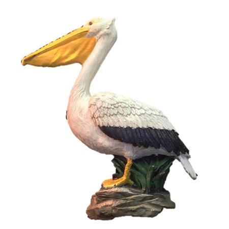 Homestyles 20 in. Pelican on Coastal Rock with Natural Finish Nautical Beach Statue Garden - Homestyles Large Natural