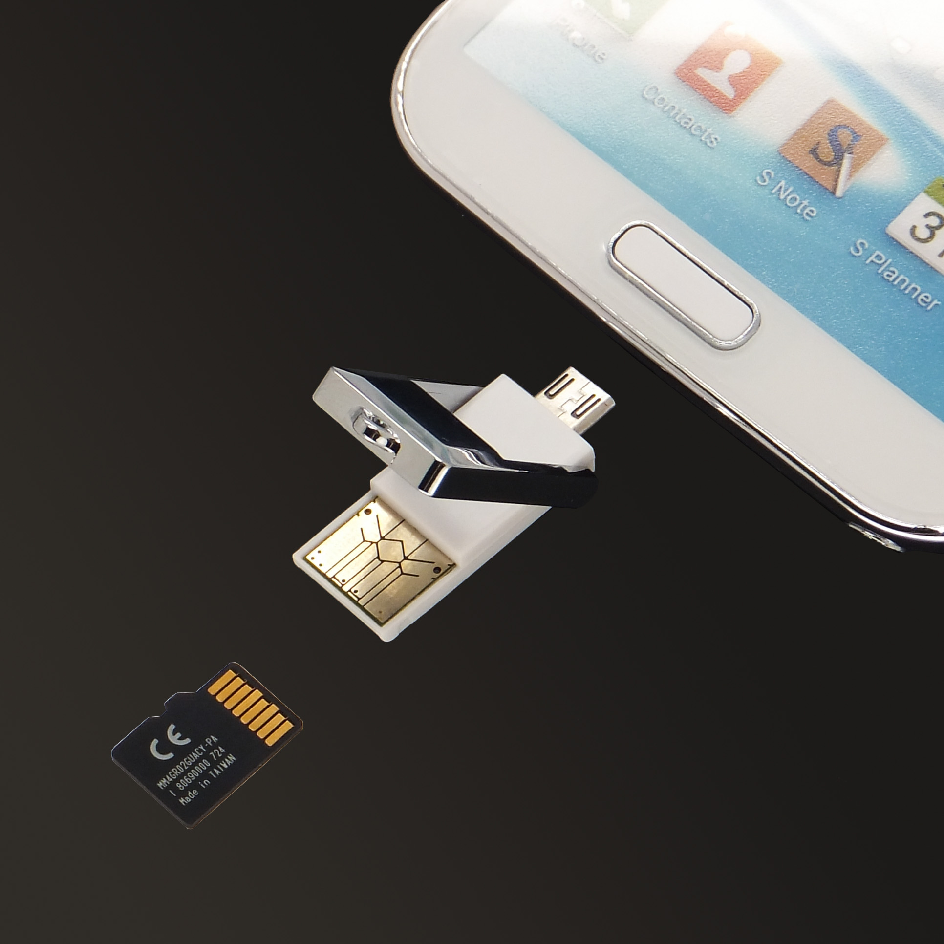 Mini OTG, Micro SD, TF Card Reader Adapter with USB 2.0, A Male Micro USB, B Male Connector for smartphone and tablets PC,Support Android,Windows,Mac iOS