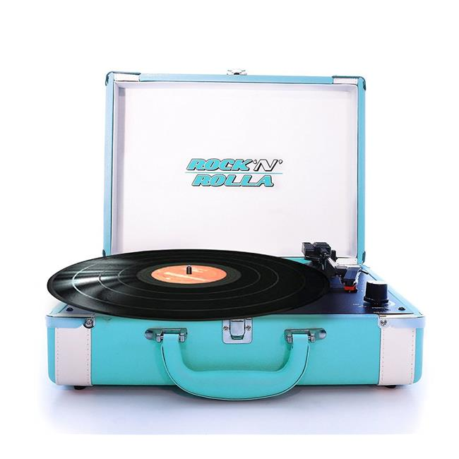 Rock n Rolla RNRP002-TEAL-WHT Premium Rechargeable Portable Briefcase Turntable with Bluetooth, Teal & White - image 1 de 1