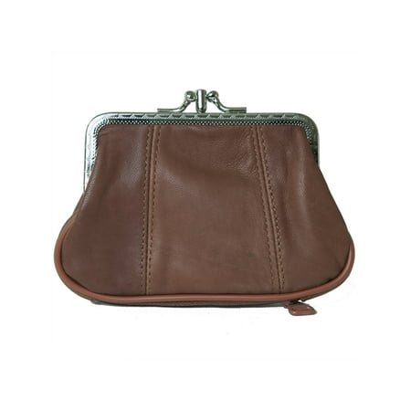 Leather Womens Wallet Metal Frame Coin Purse ID Credit Card Case Coin Purse Mini (Card Case Coin Purse)