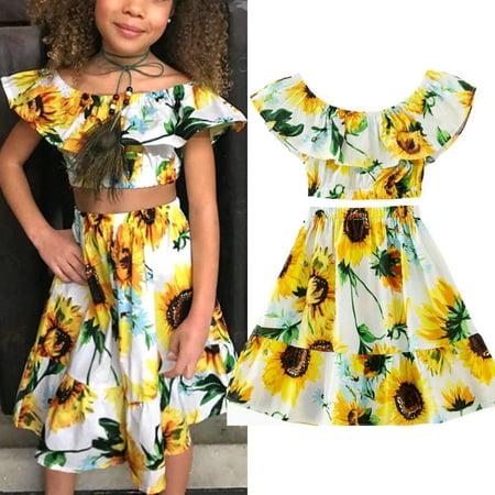 Girls Sunflower (2PCS Toddler Baby Kids Girl Summer Clothes Sunflower Ruffle Tops Crop+Dress Skirt Outfit)