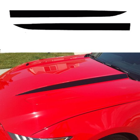 Mustang Car Decals (Xotic Tech Hood Spear Side Stripe Decal Sticker for Ford Mustang 2015 2016 2017 Glossy Black )