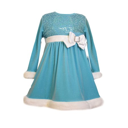 Bonnie Jean Little Girls Ice Blue Velour Sequin Dress 4T