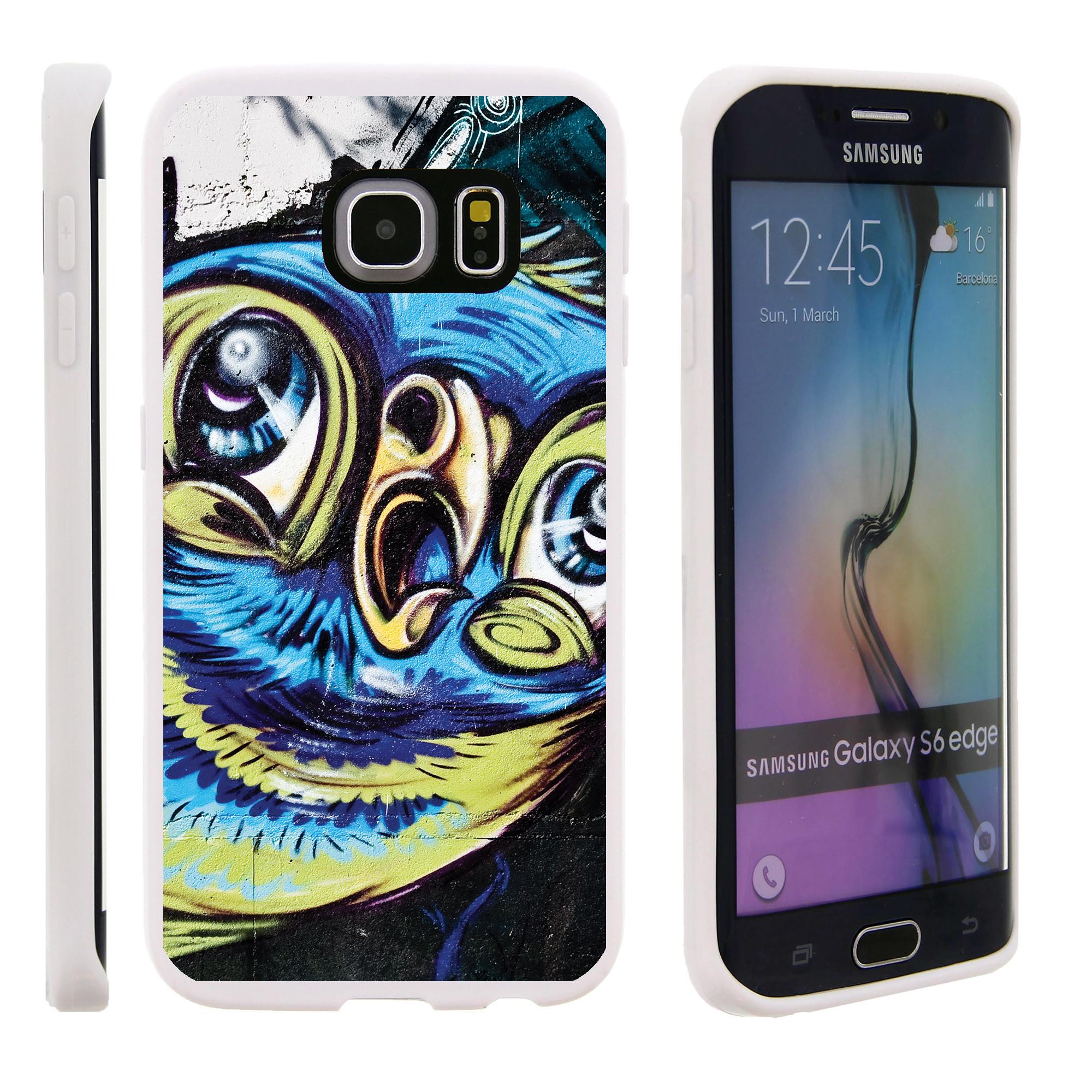 Samsung Galaxy S6 Edge G925, Flexible Case [FLEX FORCE] Slim Durable TPU Sleek Bumper with Unique Designs - Colorful Pigeon