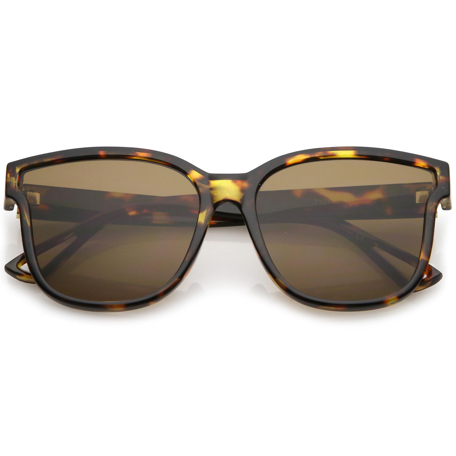 sunglassLA - Women's Horn Rim Metal Accent Square Flat Lens Cat Eye Sunglasses 55mm - 55mm
