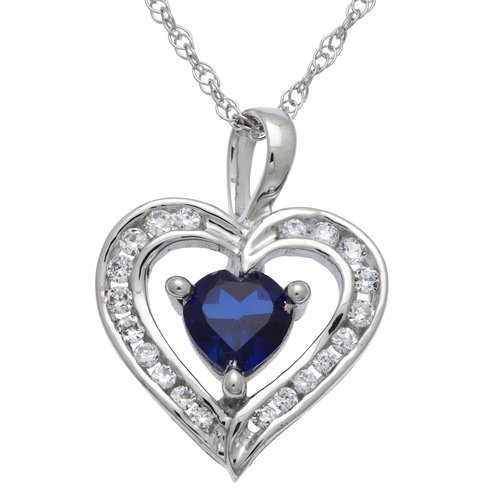 """0.95 Carat T.G.W. Created Sapphire and CZ Sterling Silver Heart Pendant, 18"""""""