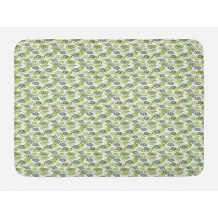 Floral Bath Mat, Abstract Blossoms in Green Shades on Polka Dotted Retro Style Background, Non-Slip Plush Mat Bathroom Kitchen Laundry Room Decor, 29.5 X 17.5 Inches, Apple Green Sage Green, - Shade Bath Light