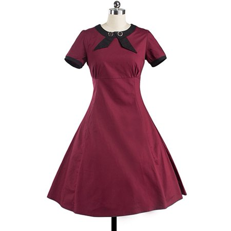 Women Vintage Style 50'S 60'S Swing Pinup Retro Party Dress 50's Style Retro Neck