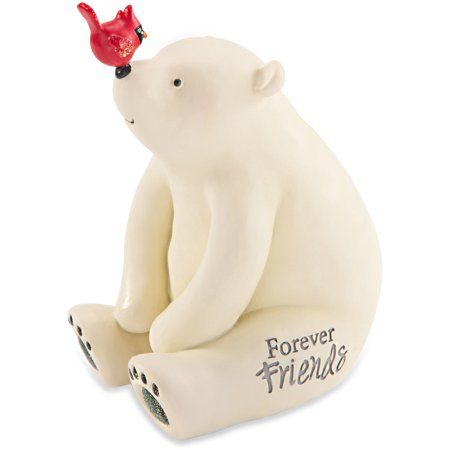 Pavilion - Forever Friends Polar Bear Figurine with Bird Winter Christmas Decoration