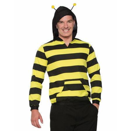 Forum Halloween Striped Bee Hoodie Costume Hoodie, Black Yellow, One-Size