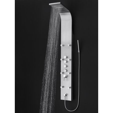 AKDY 65 in. 8-Jet Rainfall Shower Panel System with Rainfall Waterfall Shower Head and Shower Wand in Stainless Steel