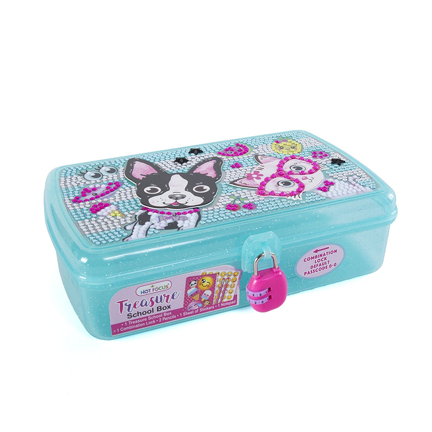 Hot Focus Treasure School Box with Lock Best Pals Girls Pencil Case Box Includes Pencils, Notepad and Stickers