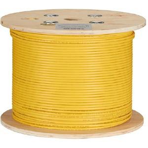 Black Box GigaTrue CAT6A 650-MHz Bulk Cable - PVC Riser, Solid, Yellow, 1000 ft