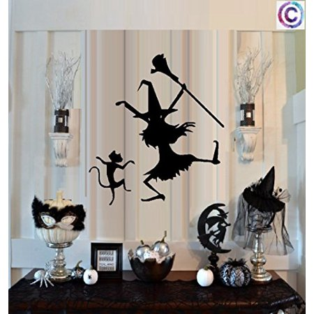HALLOWEEN DECOR ~ DANCIN WITCH AND CAT #1 ~ HALLOWEEN: WALL OR WINDOW DECAL, 12