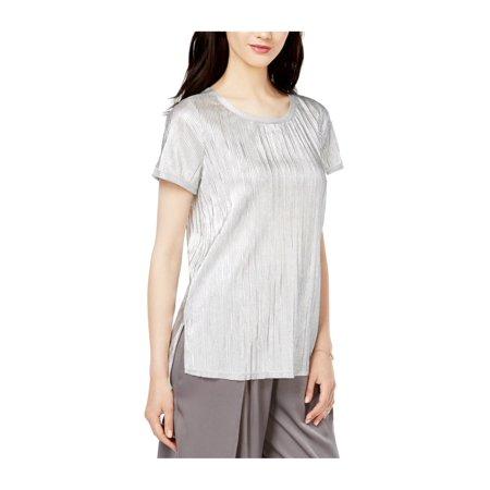 bar III Womens Textured Metallic Basic T-Shirt metallicsilver S - image 1 of 1