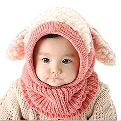 163d858fbb0 ... tusong unisex baby toddle kids winter hat scarf earflap hood scarves  skull caps (pink)