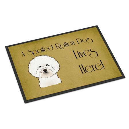Bichon Frise Spoiled Dog Lives Here Door Mat ()