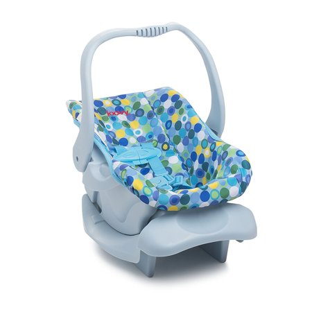Joovy Toy Doll Pretend Play Children Rocker or Car Seat with Harness, Blue Dot