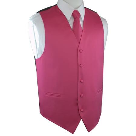 Italian Design, Men's Tuxedo Vest, Tie & Hankie Set - Fuchsia