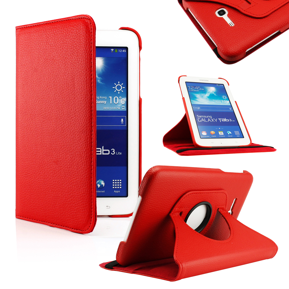"GEARONIC For Samsung Galaxy Tab 3 7"" T210 PU Leather 360 degree Rotating Case Cover with Stand - Red"