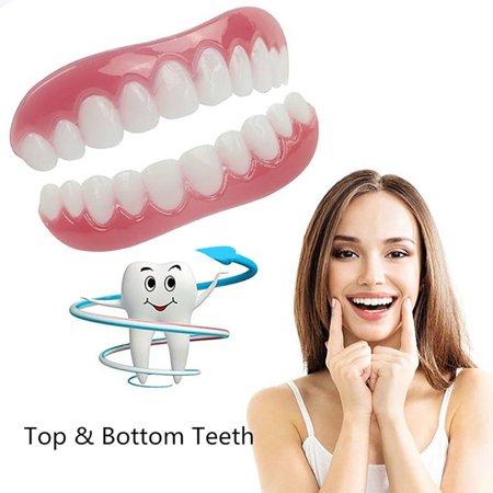 ZeAofa Silicone Smile Cosmetic Teeth Snap On Secure Upper Lower Flex Dental  Veneers