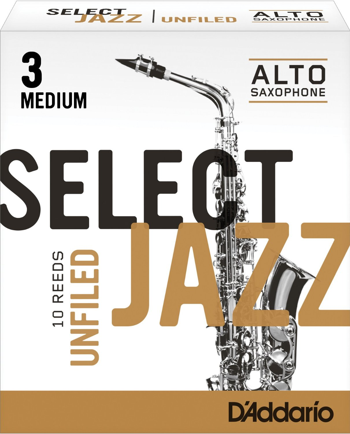 Daddario Select Jazz Unfiled Eb Alto Sax Reeds 10 ct, 3 Medium Strength by Rico