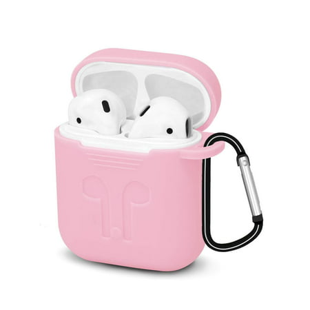 Pink Skin Case - Microseven Baby Pink AirPods Case Full Protective Silicone Cover Skin Apple Airpods Charging Case with Keychain (Pink)