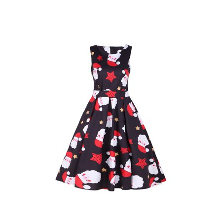 ladies christmas round neck sleeveless patterns print swing dress walmartcom