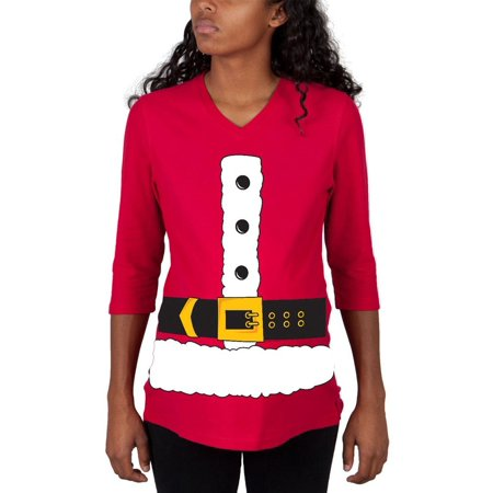 Christmas Santa Claus Costume Red Maternity 3/4 sleeve T-shirt - Pregnant Christmas Outfit