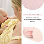Ymiko 6pcs Washable Reusable Soft Cotton Breast Pads Absorbent Breastfeeding Nursing Pad,Washable Nursing Pad,Nursing Pad