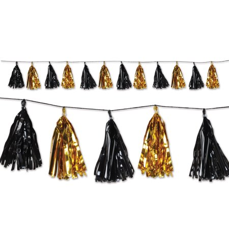 Club Pack of 12 Decorative Holiday Black and Gold Metallic Tassel Garland 8'