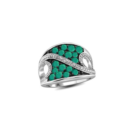 - 1 1/2 Carat T.G.W. Emerald And White Diamond Accent Sterling Silver Ring