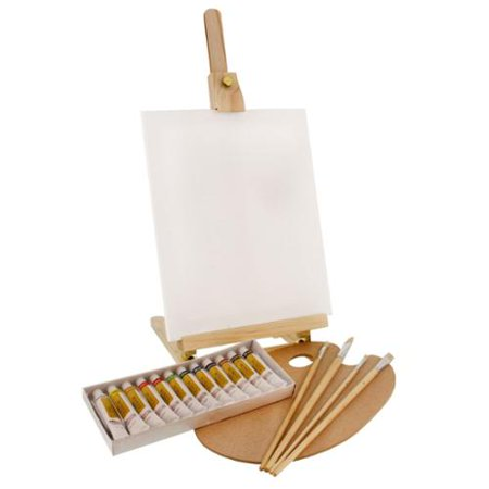 US Art Supply 19pc Oil Painting Set With Table Easel, Canvas, 12 Colors, Brushes (Table Painting)