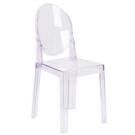 Flash Furniture Ghost Chair in Transparent Crystal with Oval (Oval Back Chairs)