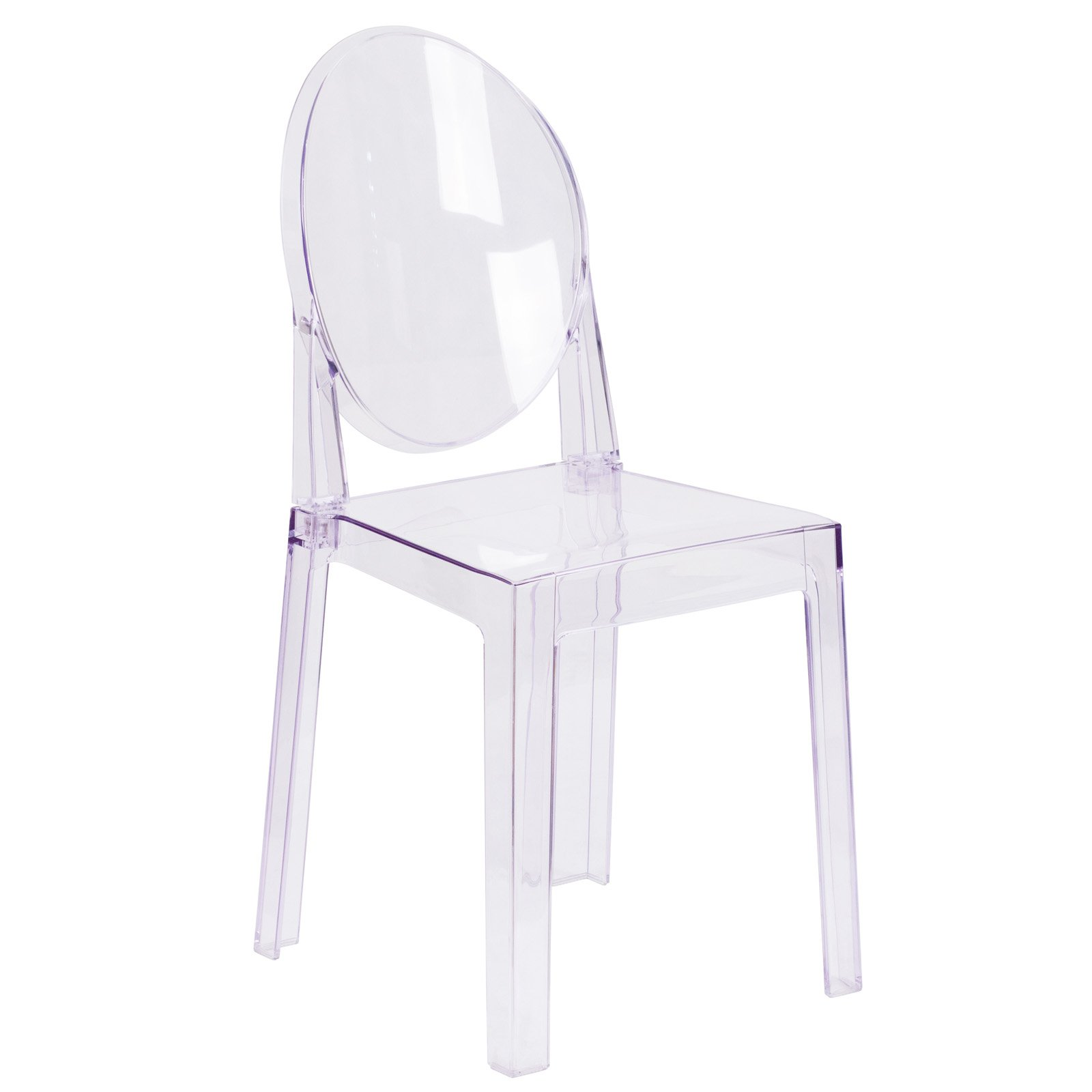 Flash Furniture Ghost Chair In Transparent Crystal With Oval Back