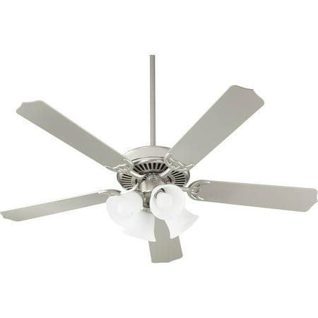 Indoor Ceiling Fans 4 Light With Satin Nickel Finish Satin Opal Glass Medium Base 52 inch 40 Watts