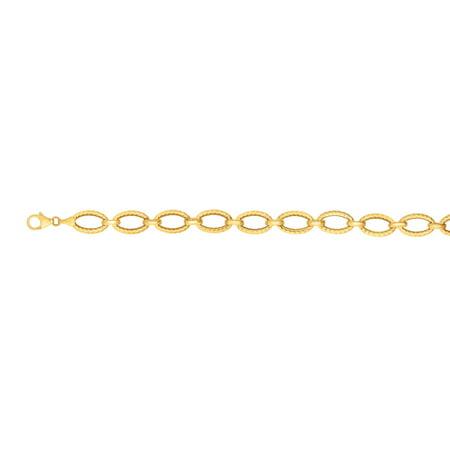 """14k Yellow Gold Shiny And Diamond-Cut Oval Shape Fancy Link Bracelet - 7.25"""""""